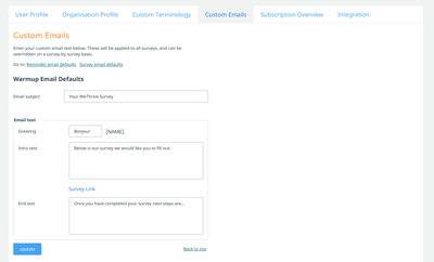 Custom Emails for WeThrive - employee survey software