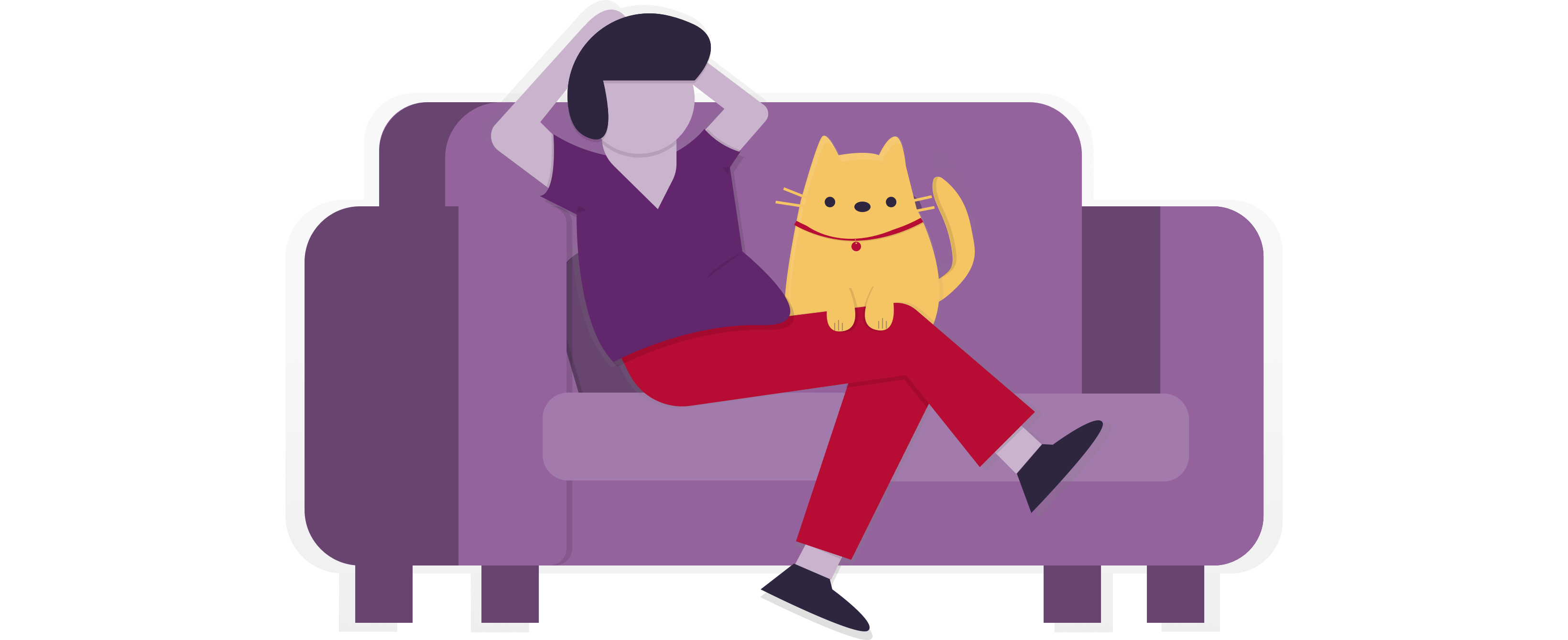 Person on sofa with cat