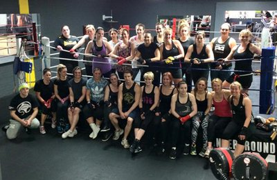 Charity boxers at gym