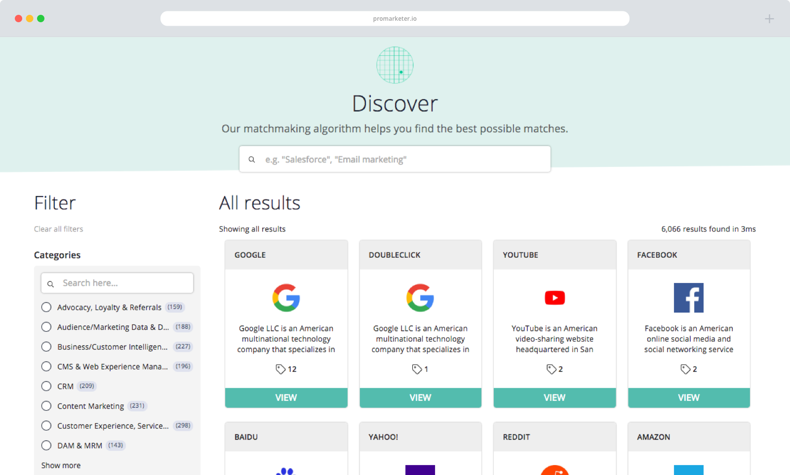 ProMarketer Discover in Browser
